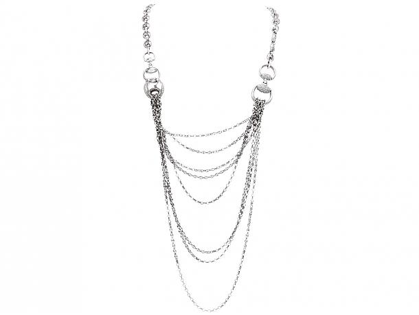 Gucci 'Horsebit Marina' Diamond Necklace in 18K White Gold