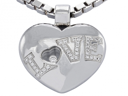 Chopard 'Love' Pendant and Chain in 18K White Gold