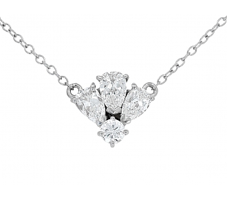 Pear-Shaped and Round Diamond Pendant in 14K White Gold