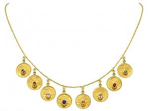 Ara Multi-Gemstone Hammered Disc Necklace in 23K Gold