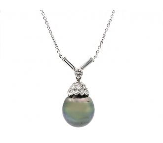 Tahitian Pearl and Diamond Pendant in Platinum