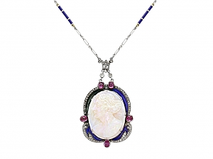 Antique Carved Opal and Enamel Cameo Necklace in Platinum and 18K Gold