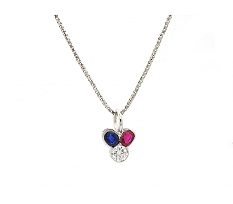 Ruby, Sapphire and Diamond Pendant Necklace in 14K White Gold and Platinum