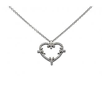 Rhonda Faber Green 'Filigree Heart' Diamond Necklace in 18K White Gold
