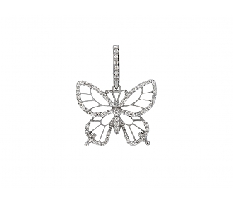 Rhonda Faber Green 'Lacy Butterfly' Pendant in 18K White Gold