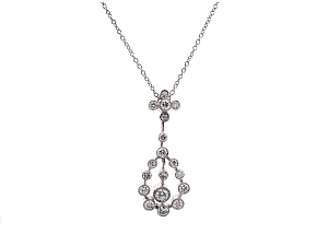 Diamond Pendent Necklace in 18K White Gold