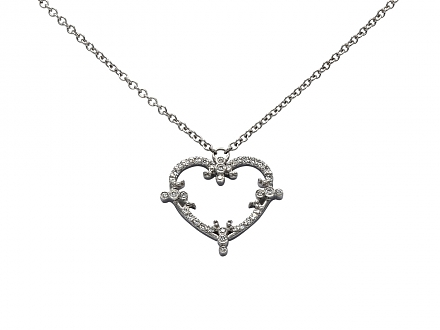 Rhonda Faber Green 'Filigree Heart' Diamond Necklace in 18K White Gold