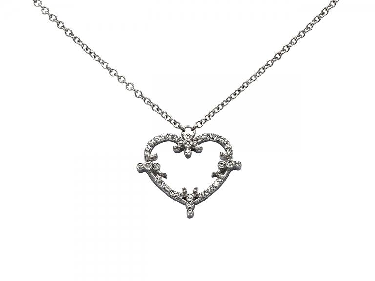 Video of Rhonda Faber Green 'Filigree Heart' Diamond Necklace in 18K White Gold