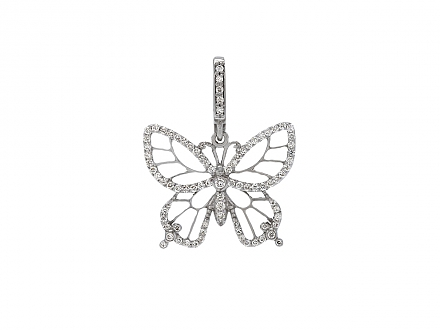 Rhonda Faber Green 'Lacy Butterfly' Butterfly Pendant in 18K White Gold