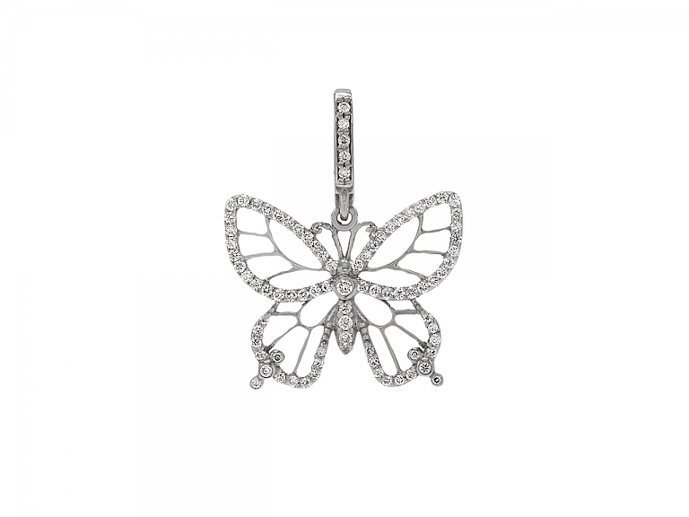 Video of Rhonda Faber Green 'Lacy Butterfly' Butterfly Pendant in 18K White Gold