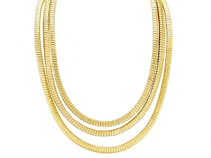 'Duemetri' Tubogas Necklace in 18K Gold, by Beladora