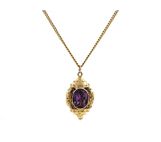 Antique-style Amethyst Fob Pendant in 14K Gold