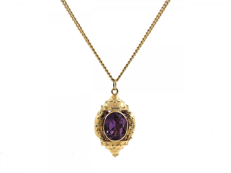 Video of Antique-style Amethyst Fob Pendant in 14K Gold