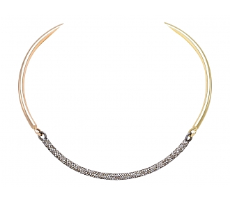 'Tri-Bar Choker' Necklace in 18K Rose, Yellow Gold and Blackened Silver, by Spinelli Kilcollin