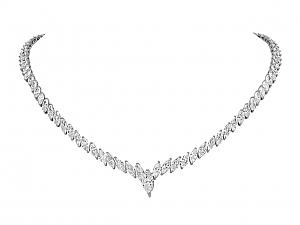 Marquise-Cut Diamond Rivière Necklace in Platinum