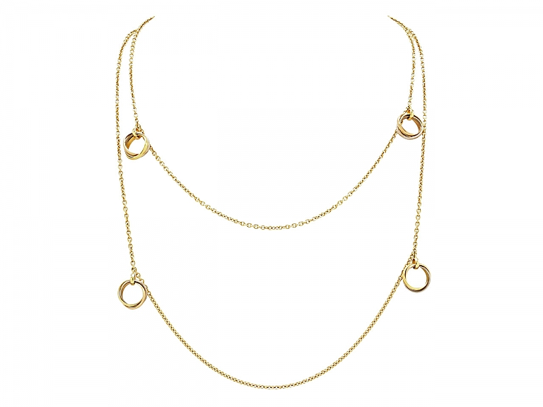 Video of Cartier 'Trinity De Cartier' Station Necklace in 18K Gold