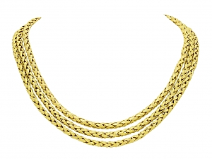 Three Strand Gold Chain Necklace in 18K Gold
