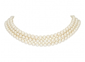Mikimoto Three Strand Akoya Pearl Choker in 14K Gold