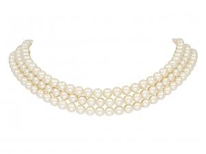 Mikimoto Three Strand Akoya Pearl Choker in 14K Gold