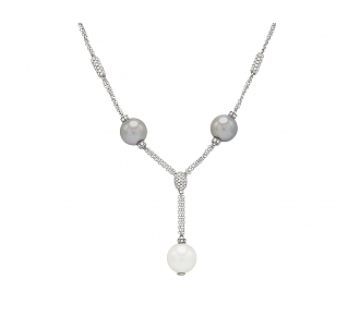 Diamond and Pearl Necklace in 18K White Gold
