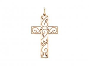 Rhonda Faber Green Diamond Cross Pendant in 18K Rose Gold