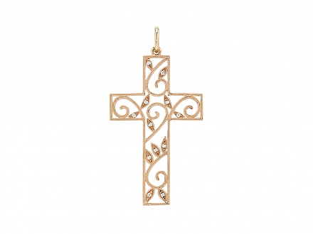 Rhonda Faber Green Diamond Cross Pendant in 18K Rose Gold