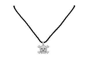Dior 'Tête De Mort' Pave Diamond Charm Pendant Necklace in 18K White Gold