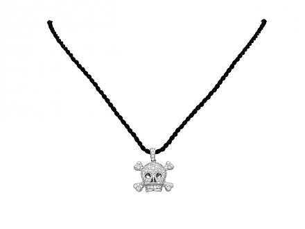 Dior 'Tête De Mort' Pave Diamond Charm Pendant Necklace in 18K White Gold