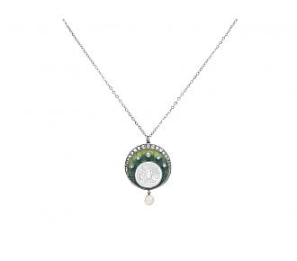 Art Nouveau Diamond and Pearl Pendant in Platinum