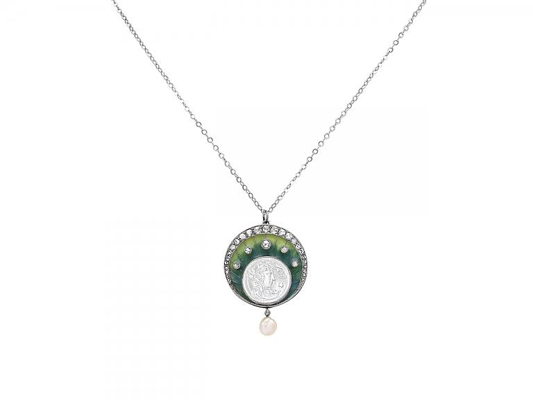Video of Art Nouveau Diamond and Pearl Pendant in Platinum