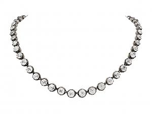 Antique Georgian Foiled Black Dot Paste Rivière Necklace in Silver