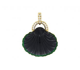 René Boivin Carved Onyx, Enamel and Diamond Pendant in 18K Gold