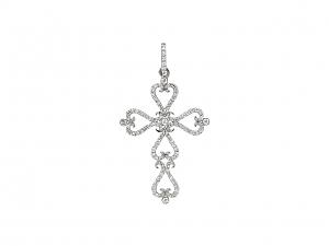 Rhonda Faber Green Diamond Cross Pendant in 18K White Gold