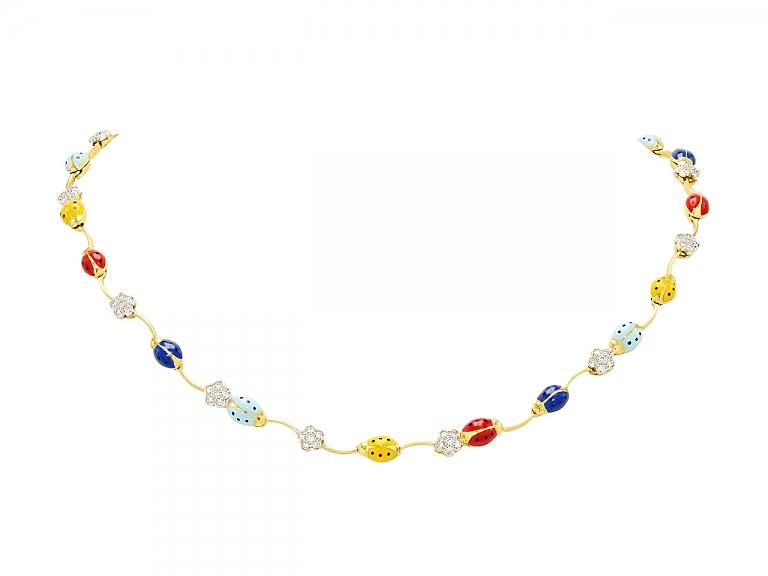 Video of Aaron Basha Ladybug and Diamond Necklace in 18K Gold