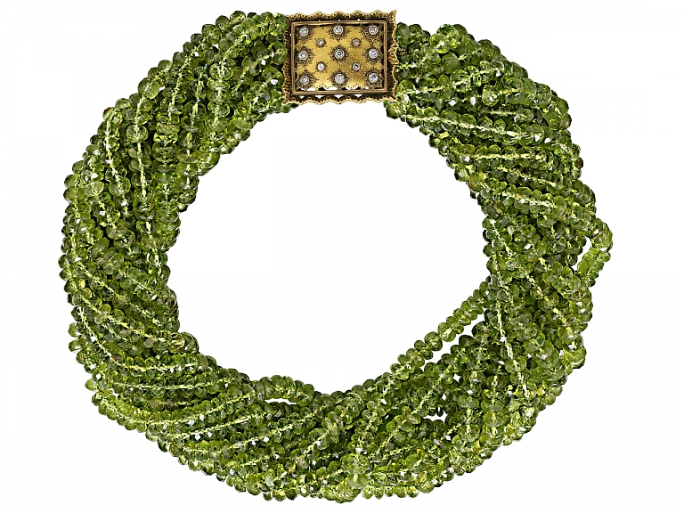 Video of Buccellati Peridot Bead Necklace with Diamond and 18K Gold Clasp