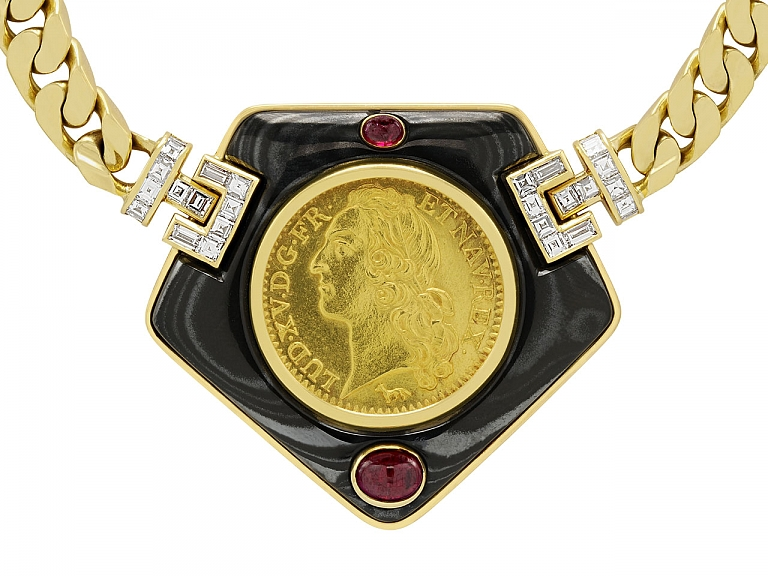 Video of Bulgari Antique Coin Necklace in 18K Gold