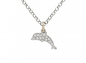 Dodo Diamond 'Follow you Anywhere' Dolphin Charm/Pendant in 18K White Gold