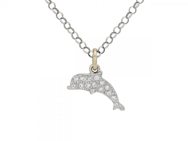 Video of Dodo Diamond 'Follow you Anywhere' Dolphin Charm/Pendant in 18K White Gold