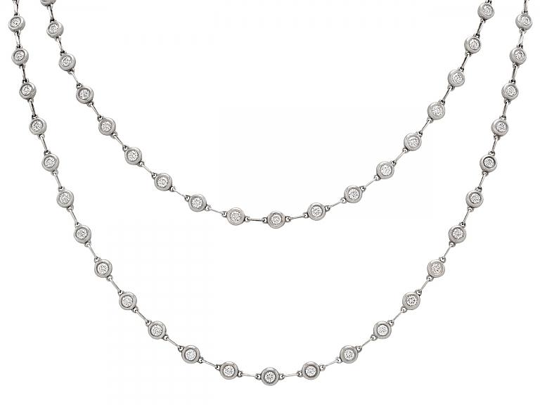 Video of Rare Tiffany & Co. Elsa Peretti 'Diamonds by the Yard' Necklace in Silver