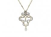 Antique Belle Époque Diamond and Pearl Pendant in Platinum over Gold