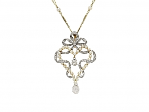 Antique Belle Époque Diamond and Pearl Pendant in Platinum over Gold