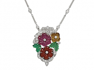 Art Deco Diamond and Multi-Gemstone Floral Pendant Necklace in Platinum