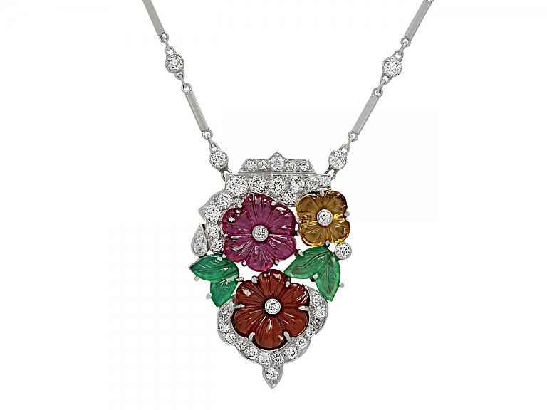 Video of Art Deco Diamond and Multi-Gemstone Floral Pendant Necklace in Platinum
