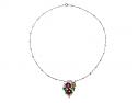 Art Deco Diamond and Multi-Gemstone Floral Pendant Necklace in Platinum
