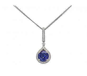 Tanzanite and Diamond Necklace in 18K White Gold