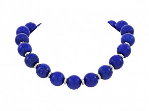 Lapis Bead Necklace with Diamond Rondelles and Gold Clasp in 18K and 14K Gold