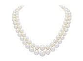 Double Strand South Sea Pearl Necklace with Diamond Platinum Clasp
