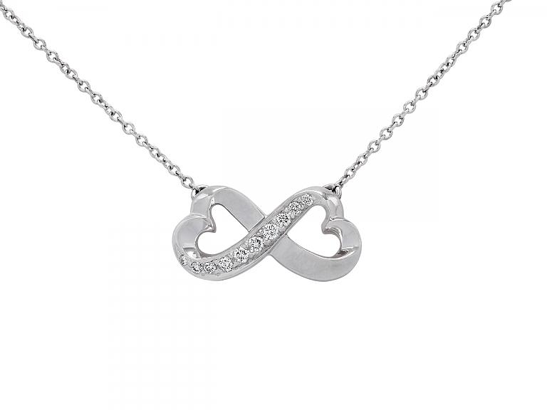 Video of Tiffany & Co. Paloma Picasso 'Double Loving Heart' Diamond Pendant in 18K