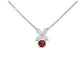Tiffany & Co. 'Victoria' Ruby and Diamond Pendant in Platinum and 18K Gold