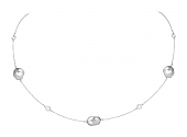 Tiffany & Co. Elsa Peretti Tahitian Keshi Cultured Pearl and Diamond Necklace in Platinum